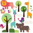 Safari Animals Wall Sticker Set - children's animal wall decor