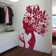 Large Flower Girl Wall Sticker - Giant Designer Flower Wall Decor