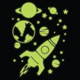 Glow in the Dark Rocket, Planets and Stars Wall Stickers - Red Candy