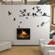 Stylish Tree & Bird Wall Sticker - Red Candy