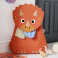 Troy the Triceratops Laundry Basket - Red Candy