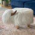 Winston the White Highland Cow Footstool - Red Candy