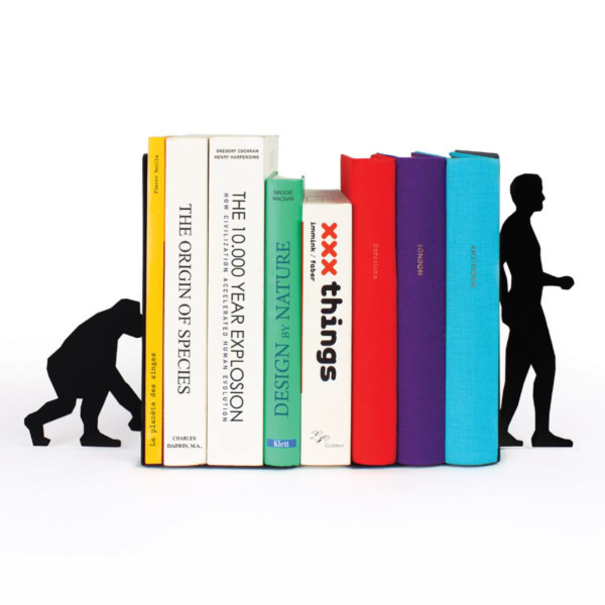 block bookends  black and white  modern book ends - evolution book ends  black