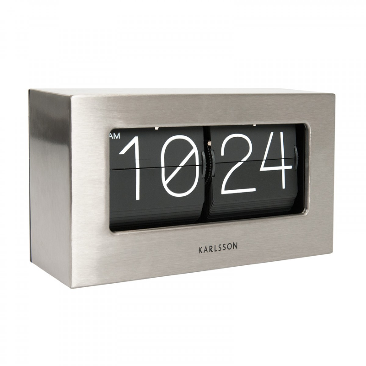 Karlsson boxed flip clock small steel metal flip clock amipublicfo Image collections