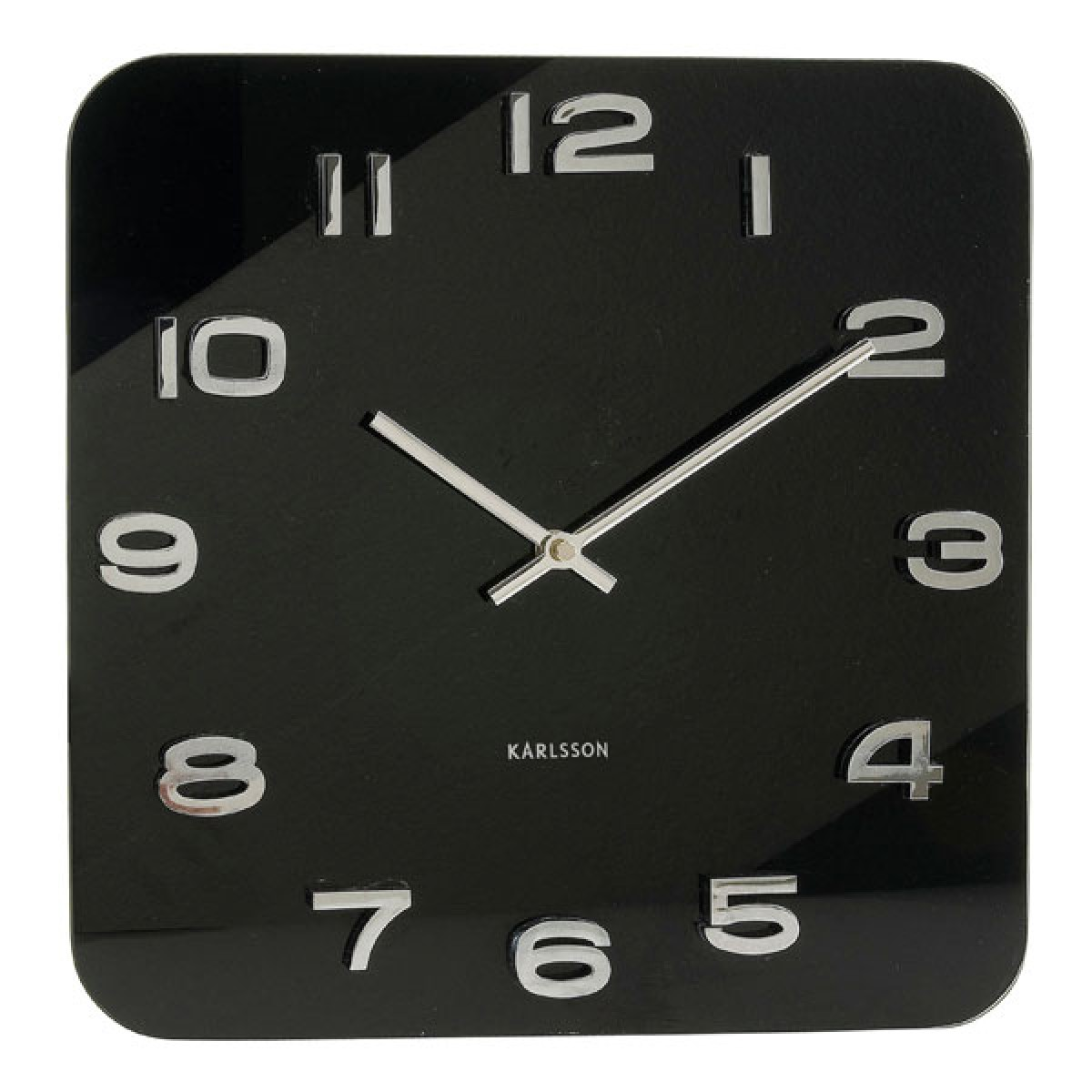 Karlsson Vintage Square Glass Clock Black Red Candy