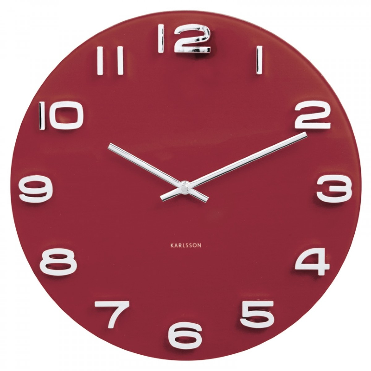 Karlsson clocks wall alarm clocks red candy karlsson vintage round glass clock burgundy red wall clock amipublicfo Image collections