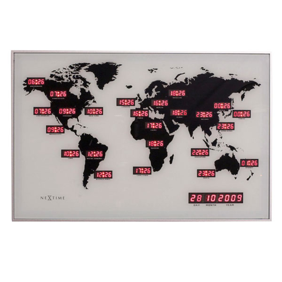 Nextime World Time Digit Clock red LED wall clock