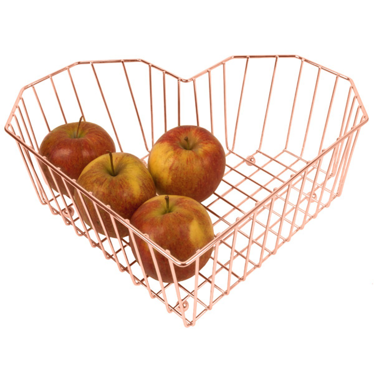 modern  funky fruit bowls  red candy - heart fruit bowl  copper  wire grid fruit dish  present time