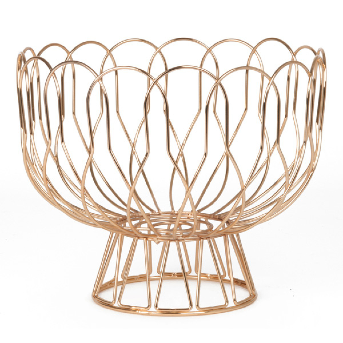 wired fruit bowl  copper  metal wire fruit dish  present time -