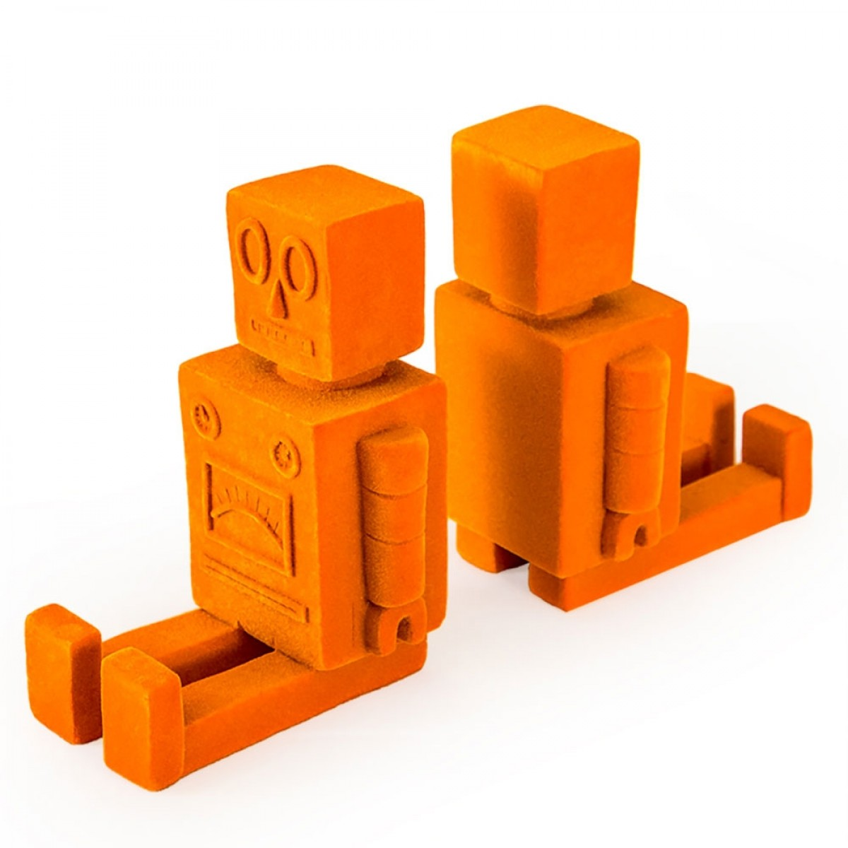 Robot Bookends Orange Flock Red Candy