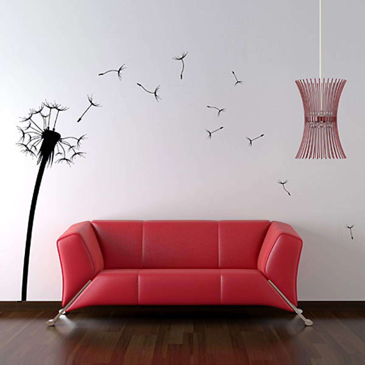 wall stickers  funky vinyl wall decals - dandelion wall sticker  large  floral wall dcor