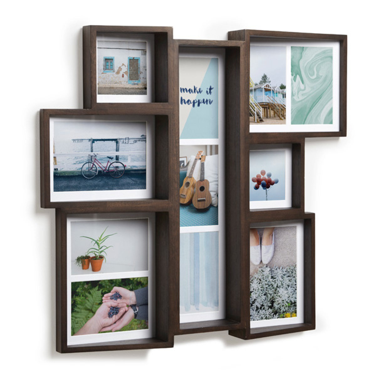 umbra edge multi photo display walnut designer photo display