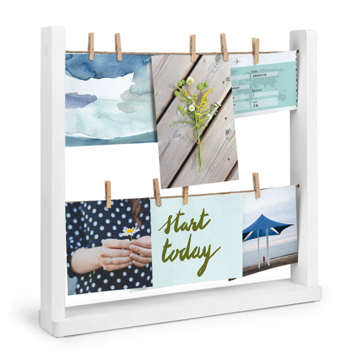umbra hangit desk photo display clothesline desktop photo frame