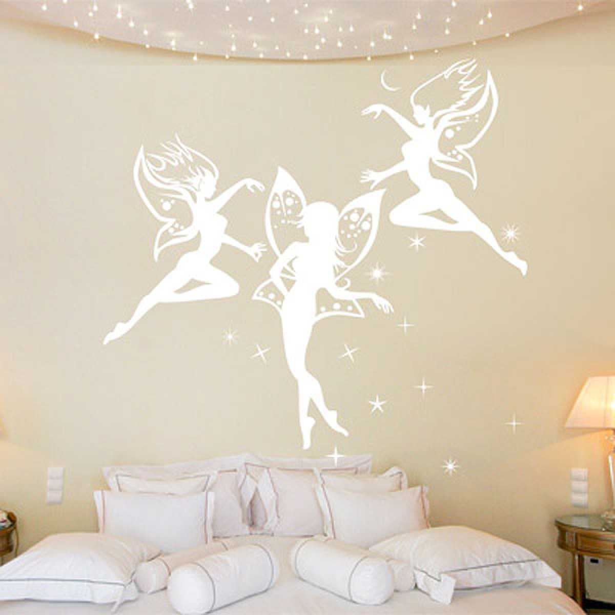 Magic fairy wall sticker large childrens wall decal dancing fairies wall sticker amipublicfo Gallery