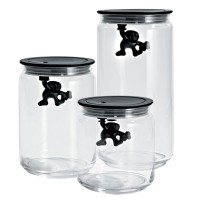 Alessi Gianni Storage Jar - black lidded glass jar