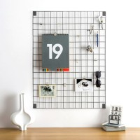 Block Wire Mesh Memo Board - Grey - modern memo display