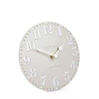 Thomas Kent Arabic Mantel Clock in Dove Grey - Red Candy