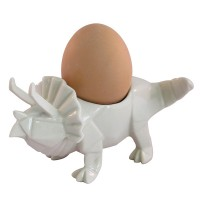 Triceratops Dino Egg Cup - White Dinosaur Egg Cup - Disaster Designs