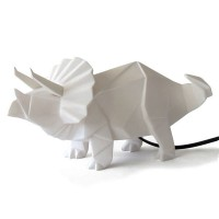 Triceratops White Dino Lamp - Dinosaur Light - Disaster Designs