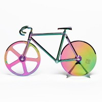 Fixie Pizza Cutter - Iridescent - rainbow bike pizza wheel - DOIY