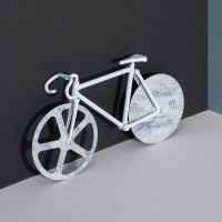 Fixie Pizza Cutter - White Marble - bike shape pizza wheel - DOIY