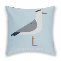 Evermade Brighton Seagull Cushion - seaside bird print cushion