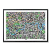 Hand Drawn Map of London Framed Print - illustrated map art print