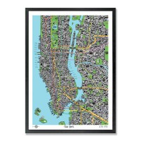 Hand Drawn Map of New York Framed Print - cultural Manhattan framed art print