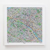 Hand Drawn Map of Paris Framed Print - Red Candy
