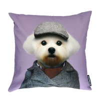 Evermade Zoo Portrait Cushion (Maltese Dog) - Red Candy