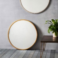 Antique Gold Round Wall Mirror (80cm) - Red Candy