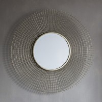Gold Wire Mesh Circular Mirror (92cm) - Red Candy