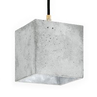 B1 Cubic Pendant Light – grey and silver concrete pendant light