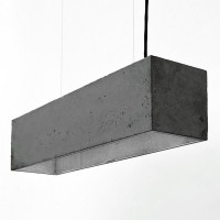 B4 Rectangular Pendant Light – charcoal and silver concrete pendant light