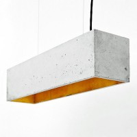 B4 Rectangular Concrete Pendant Light (Grey & Gold) - Red Candy