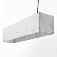 B4 Rectangular Concrete Pendant Light (Grey & Silver) - Red Candy