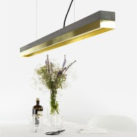 C1 Strip Pendant Light - brass and dark concrete strip light