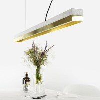 C1 Strip Pendant Light - large brass and concrete strip light