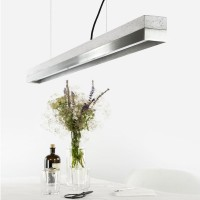 C1 Strip Pendant Light - large steel and concrete strip light