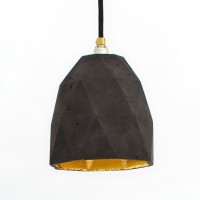 T1 Triangle Concrete Pendant Light (Charcoal & Gold) - Red Candy
