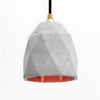 T1 Triangle Concrete Pendant Light (Grey & Copper) - Red Candy
