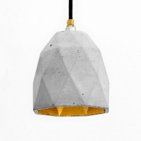 T1 Triangle Concrete Pendant Light (Grey & Gold) - Red Candy