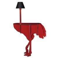 Ibride Ostrich Console Diva Lucia – red ostrich side table