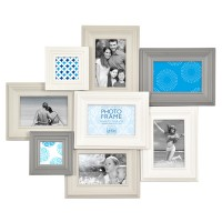 Madeira VI Multi Photo Frame - White and Grey - photo display