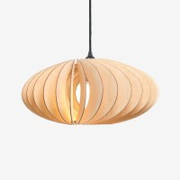 IUMI Nefi Pendant Light – large oval plywood hanging lamp