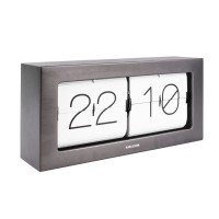 Karlsson Boxed Flip Clock Large (Gun Metal) - Red Candy