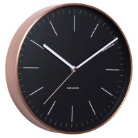 Karlsson Minimal Copper Clock - Black - metallic wall clock