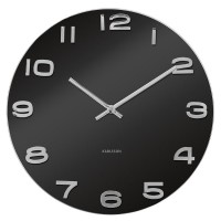 Karlsson Vintage Round Clock - black glass clock