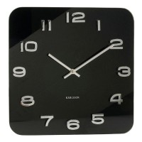 Karlsson Vintage Square Glass Clock (Black) - Red Candy