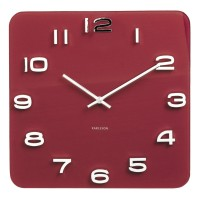 Karlsson Vintage Square Glass Clock - Burgundy Red - wall clock